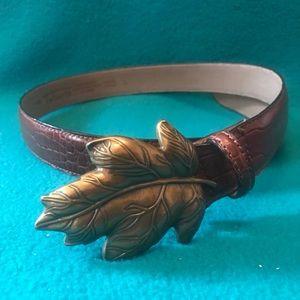 Talbots Snakeskin Print Leather Belt w Brass Leaf